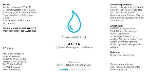 Ettiket zum LUFTMAXX AQUA Duftstoff